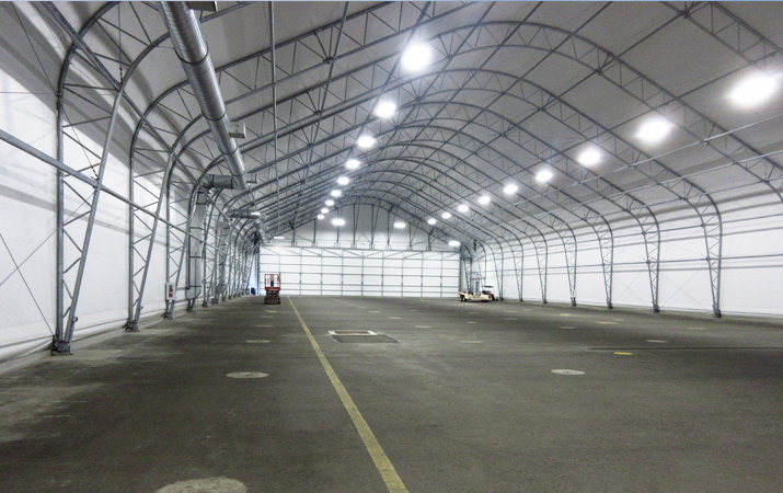 Interior of 100 x 280 aircraft hangar a.k.a. sun shade structure